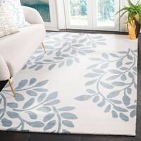 Martha Stewart by Safavieh Leaf Stamp Arrowroot / Blue / Ivory Wool Area Rug - 9' x 12'