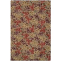 Martha Stewart by Safavieh Meadow Crimson / Clover / Brown / Red Wool Area Rug - 7'9 x 9'9