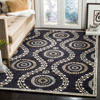 Martha Stewart by Safavieh Ogee Dot Francesca / Black / Ivory Wool Area Rug (9' x 12')