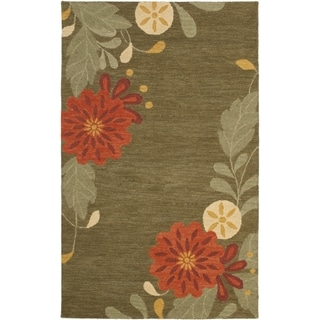 Martha Stewart by Safavieh Picture Block Floral Pup Tent / Green / Red Wool Area Rug (8' x 10')
