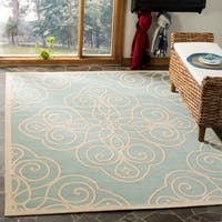 Martha Stewart by Safavieh Rosamond Sunken Pool / Blue / Cream Area Rug - 8' x 11'2