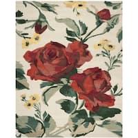 Martha Stewart by Safavieh Rose Chintz Shortbread / Red / Ivory Wool Area Rug - 9' x 12'