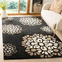 Martha Stewart by Safavieh Silhouette / Black / Beige Wool Area Rug - 8' x 10'