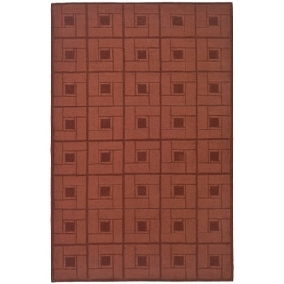 Martha Stewart by Safavieh Square Knot Vermillion / Red Wool Area Rug (9' x 12')