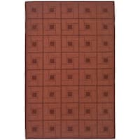 Martha Stewart by Safavieh Square Knot Vermillion / Red Wool Area Rug - 9' x 12'