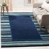 Martha Stewart by Safavieh Striped Border Wrought Iron / Blue / Green Wool / Viscose Area Rug - 8' x