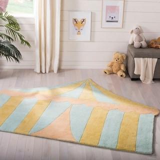 Martha Stewart by Safavieh Big Top Sea Glass / Blue / Yellow Wool Area Rug (4'3 x 5'6)