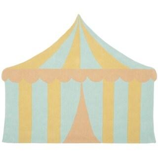 Martha Stewart by Safavieh Big Top Sea Glass / Blue / Yellow Wool Area Rug (5'7 x 6'9)