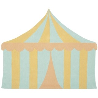 Martha Stewart by Safavieh Big Top Sea Glass / Blue / Yellow Wool Area Rug (5'7 x 6'9)