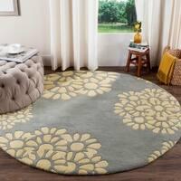 Martha Stewart by Safavieh Cement / Blue / Yellow Wool Area Rug (4' Round)