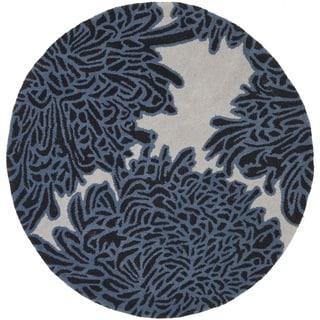 Martha Stewart by Safavieh Chrysanthemum Wrought Iron / Blue Wool Area Rug (8' Round)
