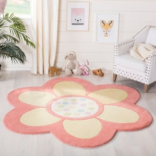 Martha Stewart by Safavieh Dot Daisy Egg Yolk / Pink / Yellow Wool Area Rug (4'4)