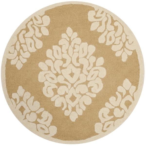 Martha Stewart by Safavieh Floret Damask Dune / Brown Wool Area Rug - 8' x 8' Round
