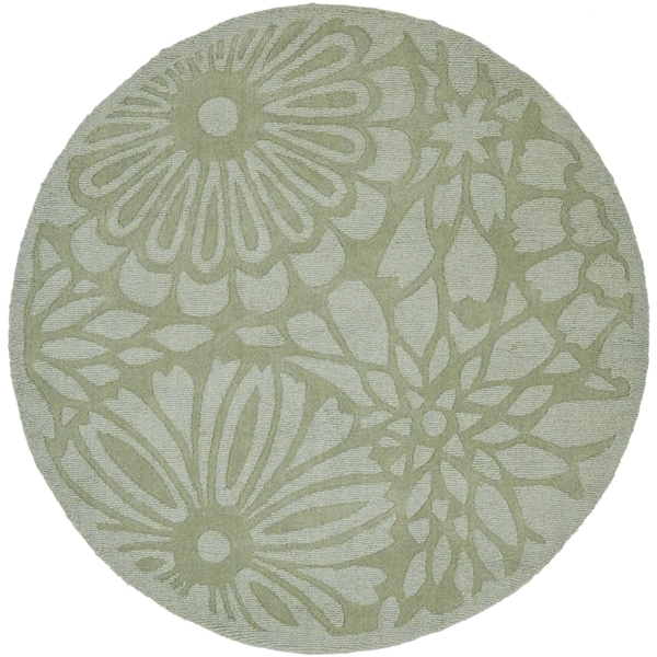 Martha Stewart by Safavieh Full Bloom Pumpkin Seed / Green Wool Area Rug - 8' Round