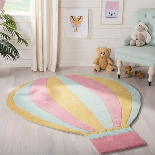 Martha Stewart by Safavieh Hot Air Balloon Peony / Pink / Blue Wool Area Rug (4'6 x 5'4)