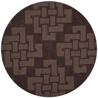 Martha Stewart by Safavieh Knot Chocolate Truffle / Brown Wool Area Rug (4' Round)