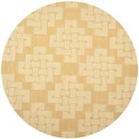 Martha Stewart by Safavieh Knot Rattan / Orange Wool Area Rug - 8' Round