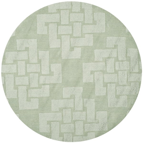 Martha Stewart by Safavieh Knot Sea Anemone / Green Wool Area Rug (4' Round)
