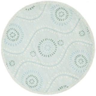 Martha Stewart by Safavieh Ogee Dot Spring Melt / Blue / Ivory Wool Area Rug (4' Round)