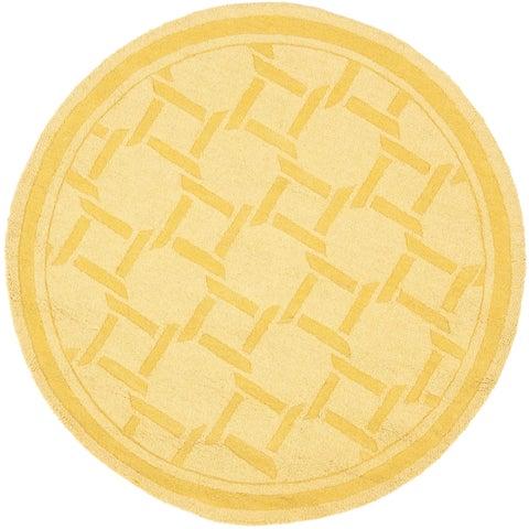 Martha Stewart by Safavieh Resort Weave Dried Chamomile / Yellow Wool Area Rug - 4' Round