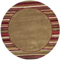 Martha Stewart by Safavieh Striped Border Lead Grey / Brown / Red Wool Area Rug (4' Round)