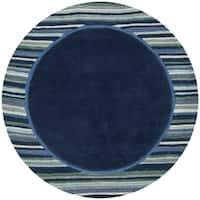 Martha Stewart by Safavieh Striped Border Wrought Iron / Blue Wool / Viscose Area Rug - 8' x 8' Round