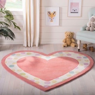 Martha Stewart by Safavieh Sweet Heart Peony / Pink Wool Area Rug (5'3 x 6')
