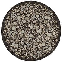 Martha Stewart by Safavieh Watercolor Garden Inkwell / Brown Wool Area Rug - 4' Round