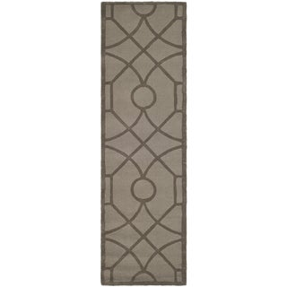 Martha Stewart by Safavieh Fretwork Cavern / Brown Wool Runner Rug (2'3 x 8')
