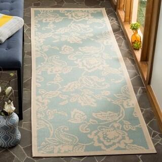 Martha Stewart by Safavieh Highland Lily Aqua / Beige / Blue / Beige Runner Rug (2'7 x 8'2)
