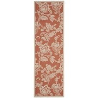 Martha Stewart by Safavieh Highland Lily Terracotta / Beige / Brown / Beige Runner Rug - 2'7 x 8'2
