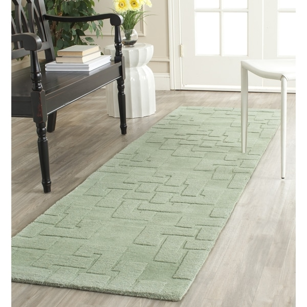 Martha Stewart by Safavieh Knot Sea Anemone / Green Wool Runner Rug (2'3 x 8')
