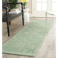 Martha Stewart by Safavieh Knot Sea Anemone / Green Wool Runner Rug - 2'3 x 8'