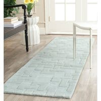 Martha Stewart by Safavieh Knot Waterfall / Blue Wool Runner Rug - 2'3 x 8'