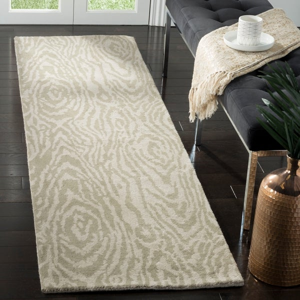 "Martha Stewart by Safavieh Layered Faux Bois Potter's Clay / Grey / Green Wool Runner Rug - 2'3"" x 8'"