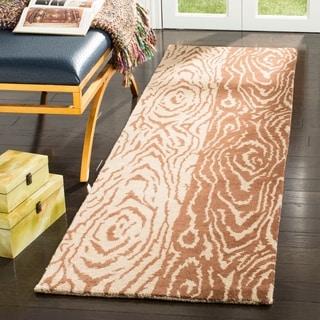 Martha Stewart by Safavieh Layered Faux Bois Sequoia / Brown / Tan Wool Runner Rug (2'3 x 8')