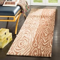Martha Stewart by Safavieh Layered Faux Bois Sequoia / Brown / Tan Wool Runner Rug - 2'3 x 8'