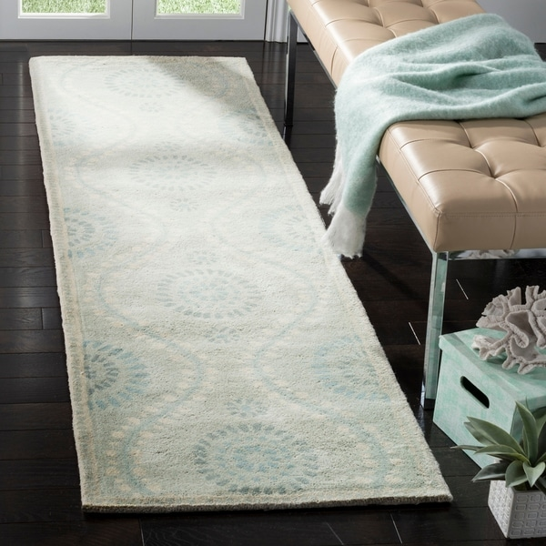 Martha Stewart by Safavieh Ogee Dot Spring Melt / Blue / Ivory Wool Runner Rug - 2'3 x 8'