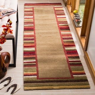 Martha Stewart by Safavieh Striped Border Lead Grey / Brown / Red Wool Runner Rug (2'3 x 8')