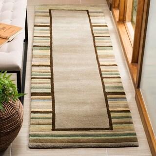Martha Stewart by Safavieh Striped Border Tadpole Green / Beige / Green Wool Runner Rug (2'3 x 8')