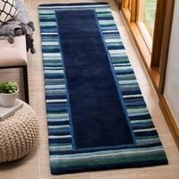 Martha Stewart by Safavieh Striped Border Wrought Iron / Blue / Green Wool / Viscose Runner Rug - 2'3
