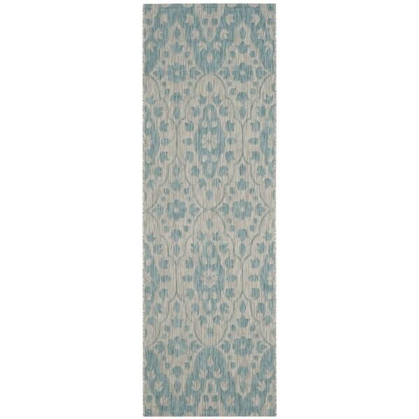 Martha Stewart by Safavieh Tulip Medallion / Grey / Blue Runner Rug - 2'7 x 8'2