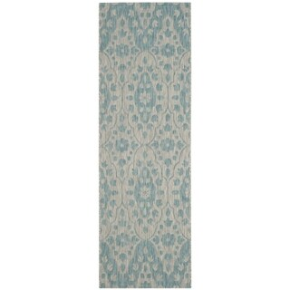 Martha Stewart by Safavieh Tulip Medallion / Grey / Blue Runner Rug (2'7 x 8'2)