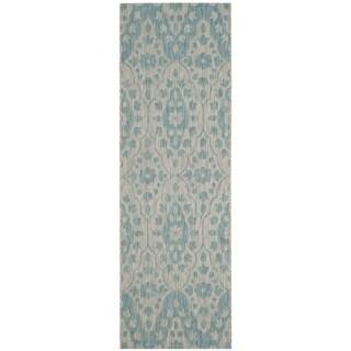 Martha Stewart by Safavieh Tulip Medallion / Grey / Blue Runner Rug (2'7 x 8'2)