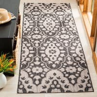 Martha Stewart by Safavieh Tulip Medallion Black / Beige Runner Rug - 2'7 x 8'2