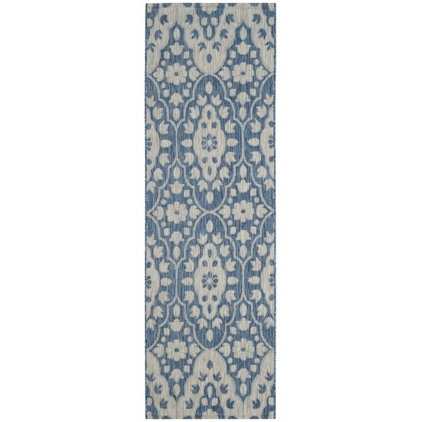 Martha Stewart by Safavieh Tulip Medallion Grey / Navy / Grey / Navy Runner Rug - 2'7 x 8'2