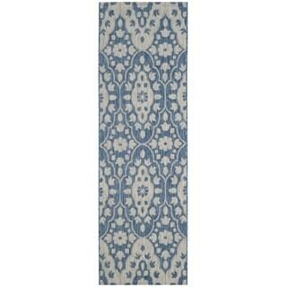Martha Stewart by Safavieh Tulip Medallion Grey / Navy / Grey / Navy Runner Rug (2'7 x 8'2)