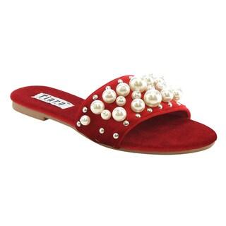 TIARA AG39 Women's Pearls Slip On Flat Slid Dress Sandals