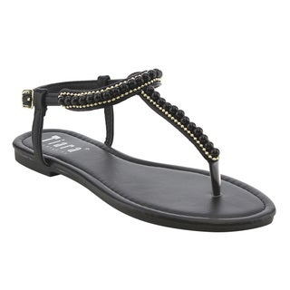 TIARA AG38 Women's Pearls T Strap Slingback Ankle Strap Sandals