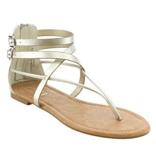 TIARA AG31 Women's Criss Cross Strappy Back Zipper Thong Flat Sandals